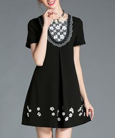 Another great find on #zulily! Black & White Floral Lace-Yoke Pleat-Front Shift Dress - Plus Too #zulilyfinds