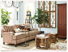 Colors, caramel, skin brown, Gray, red, creamBallard Designs  |  Blake Living Room