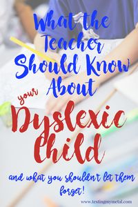 I read through this before my daughter's first 504 meeting and thank goodness I did.  I was disappointed her teachers did not know much about dyslexia.  This list was great to have so that I could inform them!
