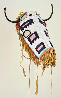 Blackfeet, Northern Plains, horse hood, ca. Native American Horses, Native American Regalia, Native American Pictures, Native American Artifacts, Native American Beadwork, Native American History, Blackfoot Indian, Horse Mask, Indian Horses