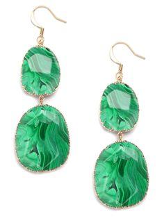 Malachite Boho Drops via BaubleBar. Gosh, I love kelly green! Fashion Necklace, Fashion Jewelry, Women's Fashion, Jewelry Shop, Jewelry Accessories, Stone Earrings, Drop Earrings, Emerald Stone, Emerald Green