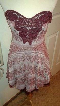 Free People strapless Dress or Tunic Burgundy/mauve SZ M sweetheart upper  #FreePeople #Strapless #Clubwear