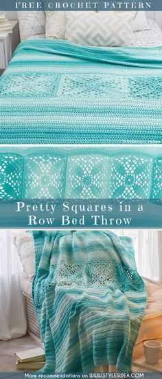 Pretty Crochet Squares in a Row Bed Throw Free Pattern #freecrochetPatterns #afghan #freecrochetPatternsforafghan #freecrochetPatternsforblanket #crochetstitch #crochet #crochetfreepatternsforhome #crochetfreepatternsforthrows