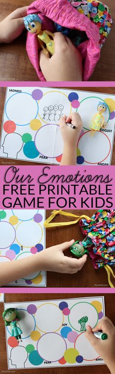 Kids experience a wide range of emotions - anger, sadness, joy, fear, and disgust to name a few - but they do not always have the words or abilities to express these feelings. Help your child learn to talk about emotions by playing my free printable emotions game based on the movie Inside Out. #ad