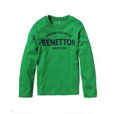 T-shirt maniche corte, in cotone, scollo rotondo finitura in costina, con stampa frontale verticale.3U1LC12FY GREEN
