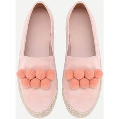 Pom Pom Decorated Woven Flats (230 CNY) ❤ liked on Polyvore featuring shoes, flats, pom pom shoes, pom pom flats, flat shoes, braided shoes and embellished flats