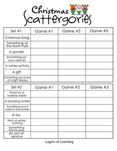 Christmas Fun & Learning Free printable Christmas Scattergories game for a fun game that will get your kids thinking while having fun at Christmas time. Xmas Games, Holiday Games, Holiday Activities, Holiday Fun, Holiday Ideas, Winter Ideas, Advent Games, Christmas Activities For School, Christmas Eve Games