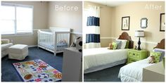 """""""Big Boy Room"""" Boys' Bedroom Makeover with before and after photos."""