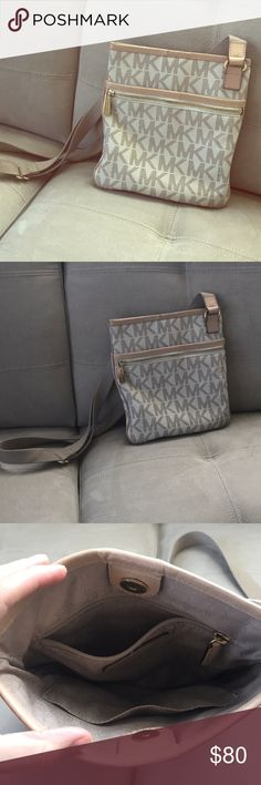 Michael Kors Crossbody bag White signature print. Staple item. Overall good condition, just a little worn on the leather at the top of the bag and on band (as seen in pics). Michael Kors Bags Crossbody Bags
