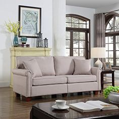 Classic 73-inch Love Seat Living Room Linen Fabric Sofa (Beige)