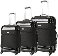 Brio Luggage Hybrid Softside & Hardside Luggage (Set of 3)