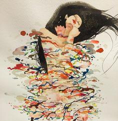 don't come - David Choe #watercolor