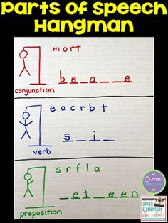 Review the parts of speech by playing Hangman! Check out this grammar activity plus four more engaging grammar games for upper elementary students! This blog post contains FREEBIES, too!