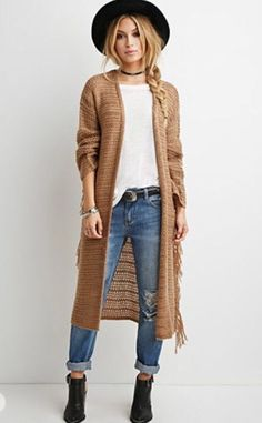 In love with this Boho Look...I adore long cardigans and pairing Beige and White.