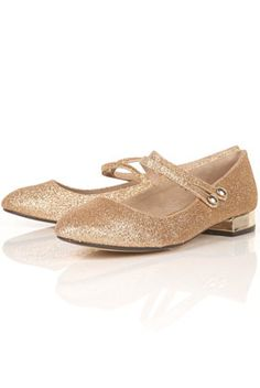 Voila gold glitter two strap mary jane shoes by Topshop.LUST!