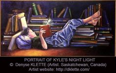 PORTRAIT OF KYLE'S NIGHT LIGHT (private commission) by Denyse KLETTE (Artist. Saskatchewan, Canada) ... ... Boy, Surrounded by Books, Reading, Book, Fairy, Light, Innocence, Magic, Imagination. Artist website: dklette.com/