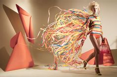 """In his Madame magazine spread, """"Paper Dresses"""", art director Matthew Brodie not only crafts his own props and set, he designs a whole collection of actual paper dresses, as well.  With some A3 sheets and a lot of perseverance, Matthew and his team—including a former pattern cutter and designer for John Galliano—create five complete dresses."""