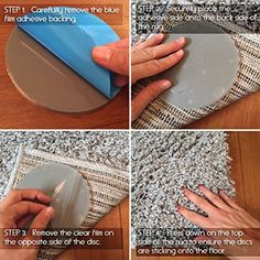 Amazon.com: Sticky Discs Non-Slip Rug Pads For RUG-ON-FLOOR Anti-Slip. Reusable Rug Stickers. No Residue. 8 Pack. Limits MEDIUM/LARGE Rugs/Exercise/Door Mats From Moving On FLOORS. BRAND NEW!: Kitchen & Dining