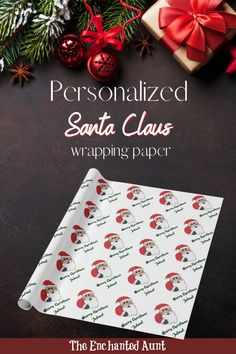 This cute Santa christmas wrapping paper can be personalized with any name! Customize this template with anyones name and have it appear all over the paper! Santa has his sac filled and is ready to deliver presents to good little boys and girls! What a great way to surprise anyone this Christmas season! #wrappingpaper #christmaswrappingpaper #christmaswrappingpaperideas #uniquechristmaswrapping #papergiftwrap Diy Christmas Wrapping Paper, Unique Wrapping Paper, Wrapping Paper Design, Gift Wrapping, Santa Christmas, All Things Christmas, Holidays With Kids, Christmas Traditions, Holiday Crafts