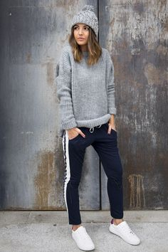 Zara Grey Knit Sweater / Joggers / Sneakers