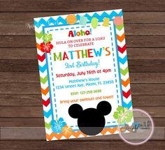 Mickey Mouse Luau Party Invitation Mickey Mouse Hawaiian