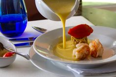 For the starter we can suggest the carrot and green apple soup, grilled prawns and sautéed green apple pearls. Hope you like it. Thanks Travelmemo for your visit!