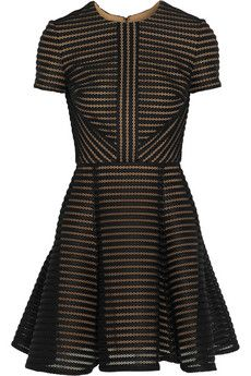 Elie Saab Striped honeycomb-mesh and brushed-satin mini dress   NET-A-PORTER