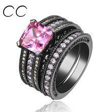 3 Carat Pink CZ Diamond Rings For Women 3pcs/set Black Gold Plated Engagement Jewelry Ring Bijoux Fashion Accessories Sale CC116