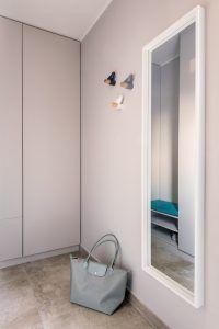 SMALL ENTRANCE - BUILT IN WARDROBE.  L-shape solution including shoe holder and banquette. Birds as hooks. Small Entrance, Shoe Holders, Shoe Cabinet, Built In Wardrobe, L Shape, Bathroom Medicine Cabinet, Prague, Building, Hooks