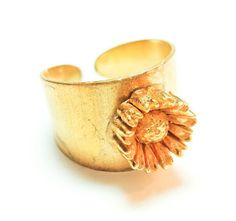 Check out the deal on Adjustable Brass Golden Daisy Ring at Eco First Art