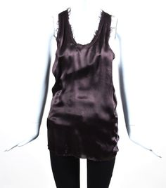 Haider Ackermann NWT Aubergine Purple Silk Ribbed Frayed Top