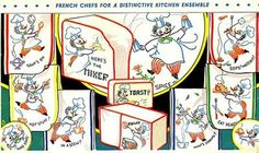 Hand Embroidery Pattern 244 Charming French Chefs for Dish Tea Towels 1940s | eBay