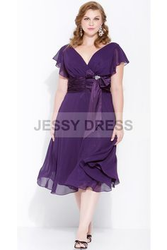 Hot Selling A-line Chiffon Zipper Natural Waist Short Sleeve V-neck Tea-length Purple Bridesmaids Dresses