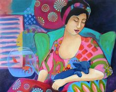 Tender Heart Colorful Woman With Dog Original by ShellyPenko
