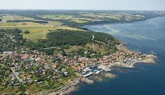 Ariel view of Gudhjem, Bornholm, Denmark