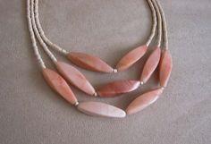 Sunshine -- One of a Kind -- Peach Jade and Shell Keishi Bead Necklace