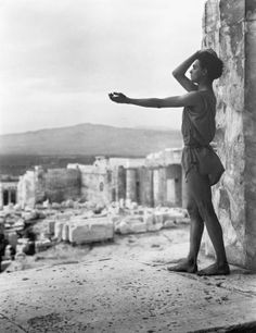 """""""Alexandrian Greek dancer Alexander Iolas poses on the Athenian Acropolis like reaching out to the past of Hellas ca. photograph by Nelly's. Ancient Greek Religion, Pin Up, Greek Culture, Triple Goddess, Ancient Greece, Popular Culture, Ancient Art, Old Photos, Mythology"""