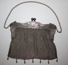 Antique Vintage Victorian Art Nouveau German G Silver Chain Mesh Purse Handbag