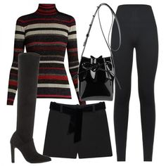 - A shimmering sweater, tailored shorts and over-the-knee boots are a fanciful combination. A high-shine cross-body completes the look.