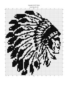 Indian chief x-stitch Bead Loom Patterns, Afghan Crochet Patterns, Cross Stitch Patterns, Cross Stitching, Cross Stitch Embroidery, Cross Stitch Silhouette, Graph Paper Art, Bobble Stitch, Native American Beadwork