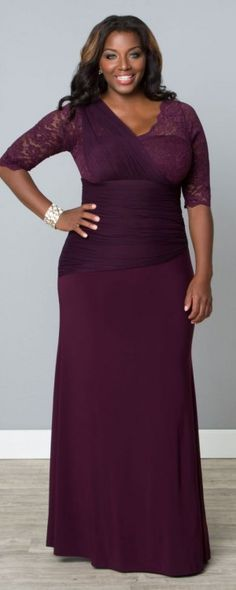 353920e69779c This Plus Size Mother of Bride and Groom Gown is Imperial in Plum Plus Size  Formal