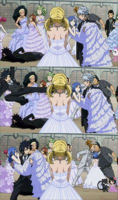 """This scene was amazing but I just love how Gajeel is laying on the ground behind them in a tux all like, """"This is a waste of my time"""" """"To cool for this"""" and everything else just goes on around him and he doesn't even care."""