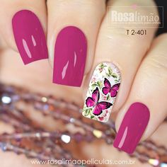 Nail art Christmas - the festive spirit on the nails. Over 70 creative ideas and tutorials - My Nails Nail Polish Designs, Acrylic Nail Designs, Nail Art Designs, Acrylic Nails, Great Nails, Cute Nails, Pink Nails, My Nails, Butterfly Nail