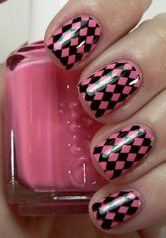 """essie knockout pout"" If you love bright Pinks you absolutely need this Essie pretty in your Collection. For the stamp I used plate BM16."