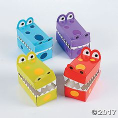 Spring Alligator Treat Boxes With Teeth. Fill these cute cardboard boxes with party favors or gifts! Shaped like an alligator's snout, these adorable . Dinosaur Valentines, Kinder Valentines, Valentine Day Boxes, Valentines For Boys, Dinosaur Party, Valentine Crafts, Valentinstag Party, Cute Kids Crafts, Crafty Kids