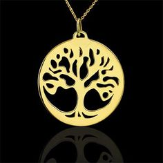 Tree+Of+Life+Disk+Pendant+Necklace+14K+Yellow+Gold+by+OroSpot,+$269.00