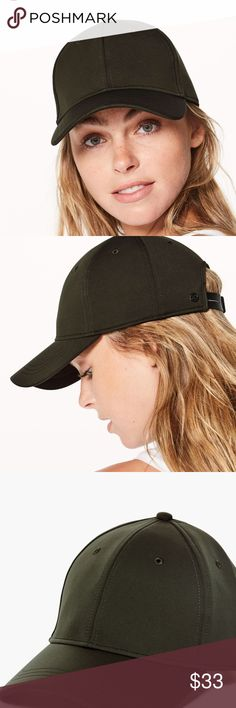 44f50b00fd493 NEW Lululemon Baller Hat Olive Army Green Sweatwicking material. Adjustable  strap. Dark green