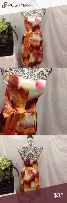 Trixxi Strapless Vivid Party Dress Size 13. Trixxi brand. Stretchy satin like fabric. Sash at waist. Zip up back. Strapless. Vivid colors. Trixxi Dresses Strapless