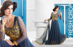 Perfect for weddings Party Wear Long Gowns, Evening Party Gowns, Net Gowns, Blue Gown, Gowns Of Elegance, Anarkali Dress, Designer Gowns, Dress Skirt, How To Wear
