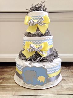 3 Tier Elephant Diaper Cake, Yellow, Blue and Gray on Etsy, $45.00